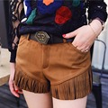 Women Fashion Fringe Tassel Suede Shorts Sexy Slim Fit Shorts Ladies 2017 Autumn Casual All-Match Street Wear Red Khaki Shorts