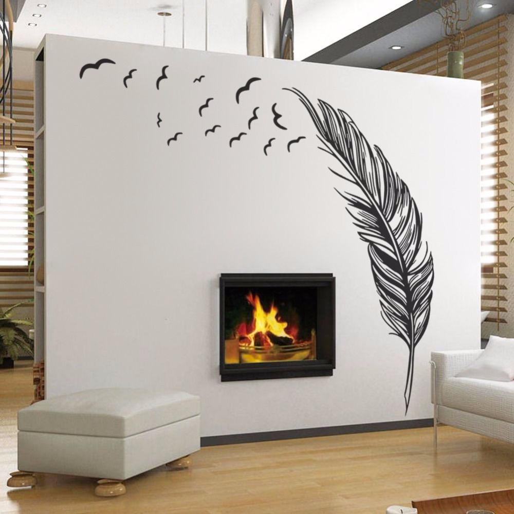 White Wall Decorations Living Room Aliexpresscom Buy Black White Feather Art Vinyl Quote Wall