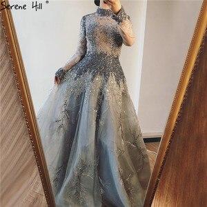 Image 3 - Muslimischen Grau Luxus Langen Ärmeln Abendkleider 2020 Neueste Design Kristall High Neck Formale Kleid Ruhigen Hill LA60975