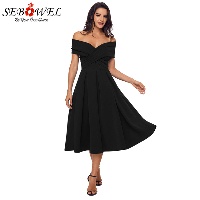 Sebowel 2018 Summer Elegant Crossed Off Shoulder Dress Women Back Cut Out A Line  Pleated Dresses Sexy Party Vintage Dresses 1b5cfdb3a5d8