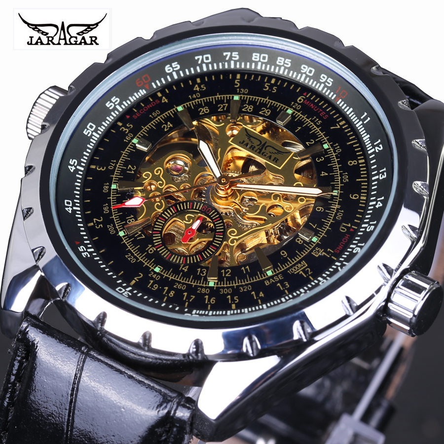 Fashion Brand JARAGAR Vintage Antique See Through Black gold Dial Skeleton Mechanical Watch Men Leather Automatic Watch Relojes wholesale full silvery see through square dial automatic real leather mens wrist watch new page 4