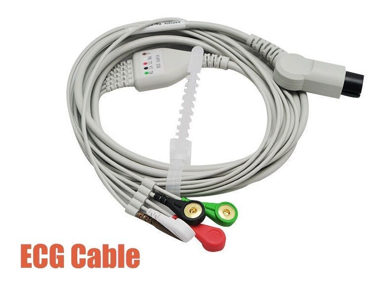 Gold plated button Type 5 Leads ECG/EKG Cable for CONTEC Patient Monitor CMS6000/7000/8000/9000