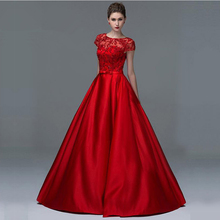 Elegante Abendkleider Red Satin 2017 Vestido de festa Eine linie Spitze Perlen Party Kleid mit Taschen Sweep Zug Formale kleider