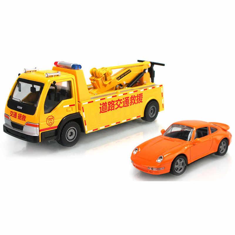 KAIDIWEI Paduan Penyelamatan Kendaraan Rekayasa Jalan Derek Truk mainan anak hadiah natal anak mainan model mobil 1:50