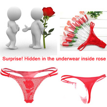 Surprise!!! A Bouquet of roses! Women Sexy Lace Underwear Panties Brief Bikini Lingerie Thongs G-string Love Gift