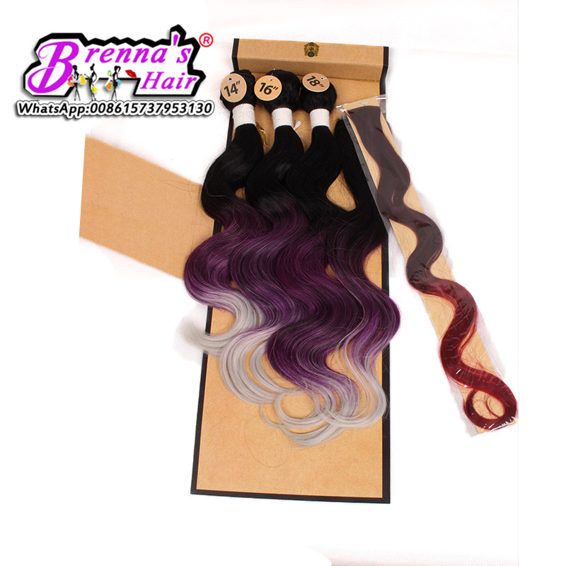Body Wave synthetic Hair Extensions 1B/Blue Ombre Hair Bundles 4Pcs Lot synthetic Hair Weave Bundles three Tone Hair Weft