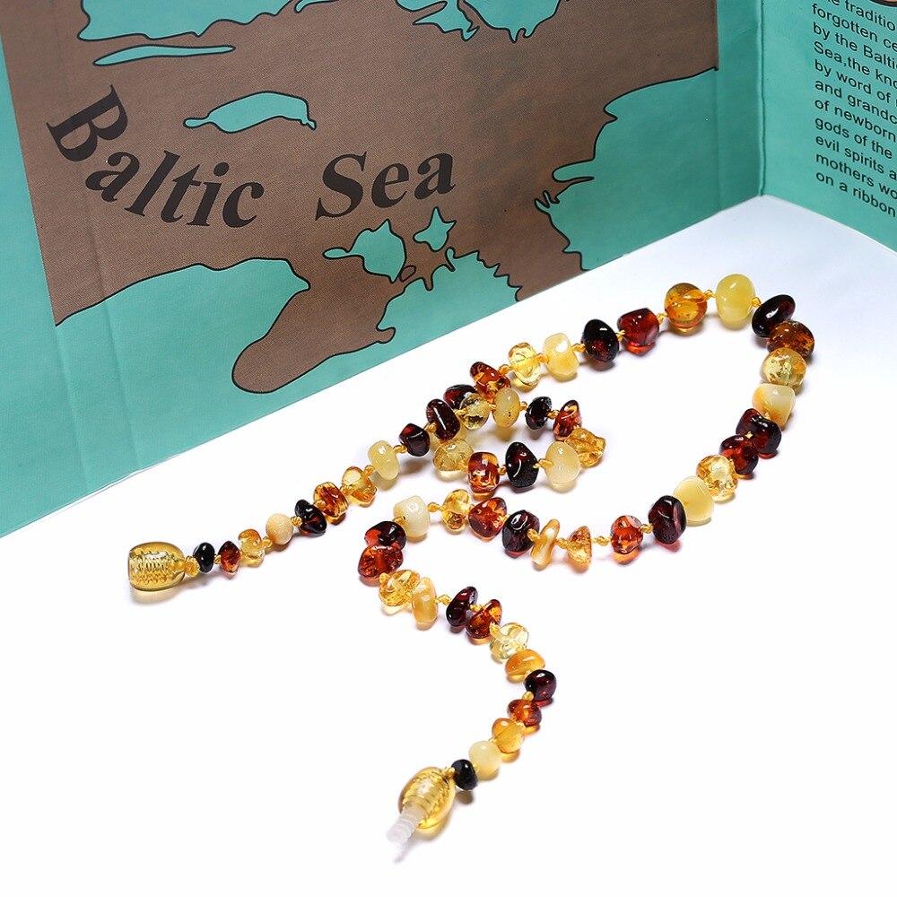 Балтийский Янтарь прорезывания зубов Цепочки и ожерелья (многоцветная)-ручной работы в Литве-лабораторного испытания оригинально-3 размера