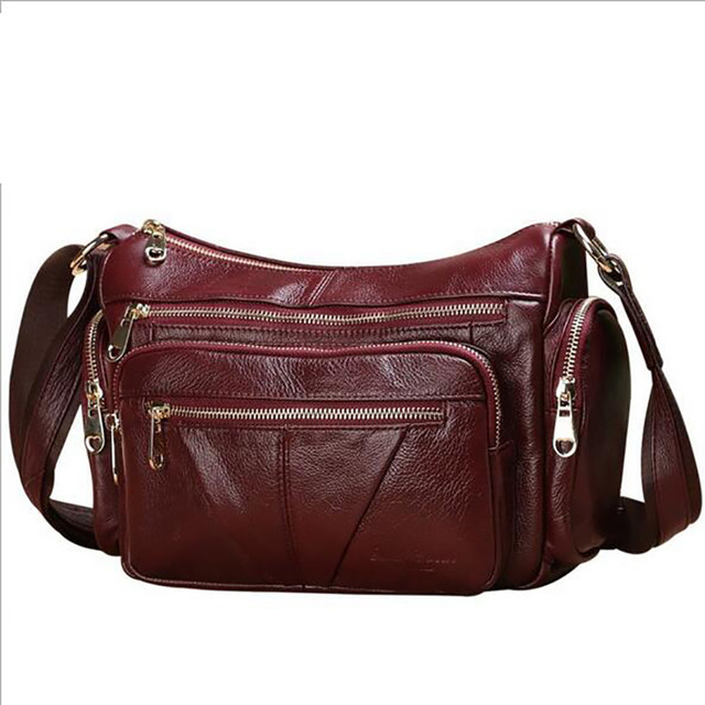 3ebd8060a Luxury Women Genuine Leather Messenger Bag Cross Body Designer First Layer  Cowhide Satchel Famous Brand Ladies Shoulder Bags New