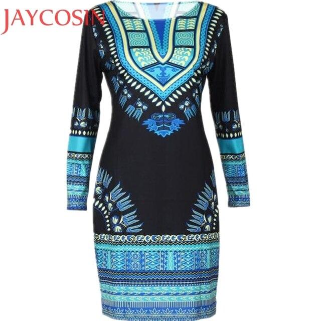 8e753ac95d8d2 US $8.38 21% OFF|African Clothing Women Fashion Summer Traditional African  Headtie Print Dashiki Slim Bodycon Sexy Long Sleeve Dress Vestido Nov3-in  ...