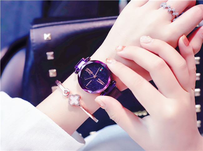 Charming Purple Women Watches Minimalism Casual Starry Sky Lady Wristwatch Magnet buckle Fashion Luxury Brand Female Watch Gift 3