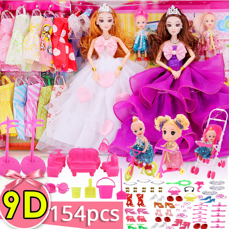 MIAO WA Doll Fashionista Ultimate Dressup Dolls Set Gift Box Toy for Children Fashion Princess Bjd Dolls Accessories for Barbie