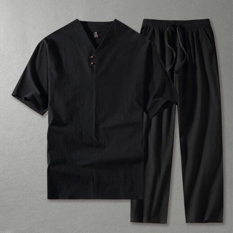 Hommes vêtements 2019 t shirt t-shirt grands hommes linge hauts & t-shirts ensembles grande taille M-9XL col en V hommes style deux pièces costumes 5 couleurs