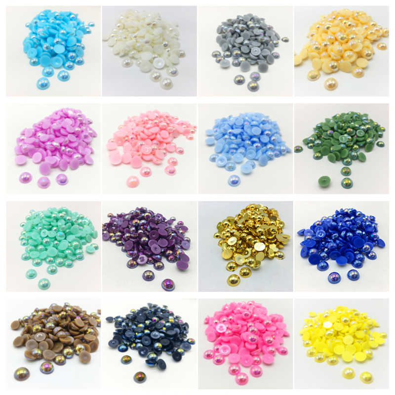 4 6 8 10mm ABS Half Round Pearl Bead Flat Back Scrapbook DIY Jewelry Making