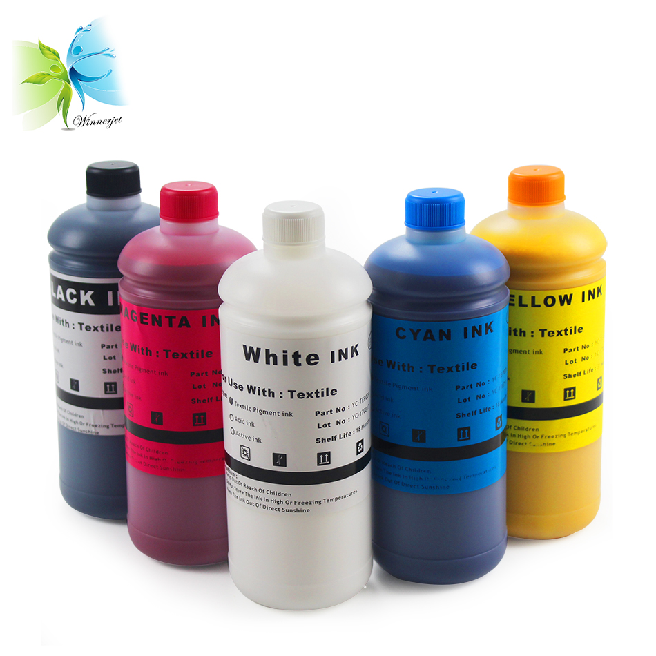 Winnerjet Textile Ink For Digital Printing Direct To Garment Cotton T Shirts For Epson F2000 L1800 R1800 R1900 R2000 ink in Ink Refill Kits from Computer Office