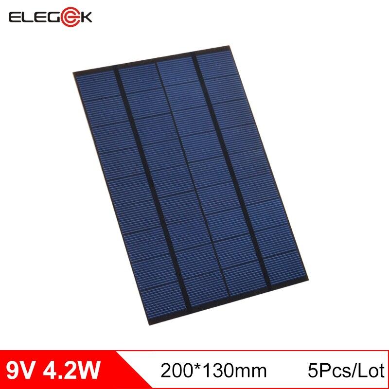 ELEGEEK 5pcs 4.2W 9V Polycrystalline Silicon Solar Cell Panel 130*200*3mm Mini Solar Panel 9V for DIY and Test Solar System
