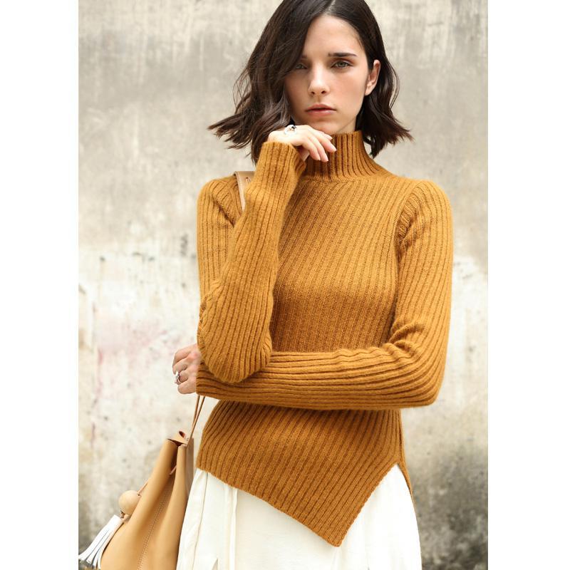 Amii Neu Definieren Frauen Pullover Herbst 2018 Kausal Solide Asymmetrische Seite Schlitz Gestrickte Elegante Rollkragen Pullover Pullover
