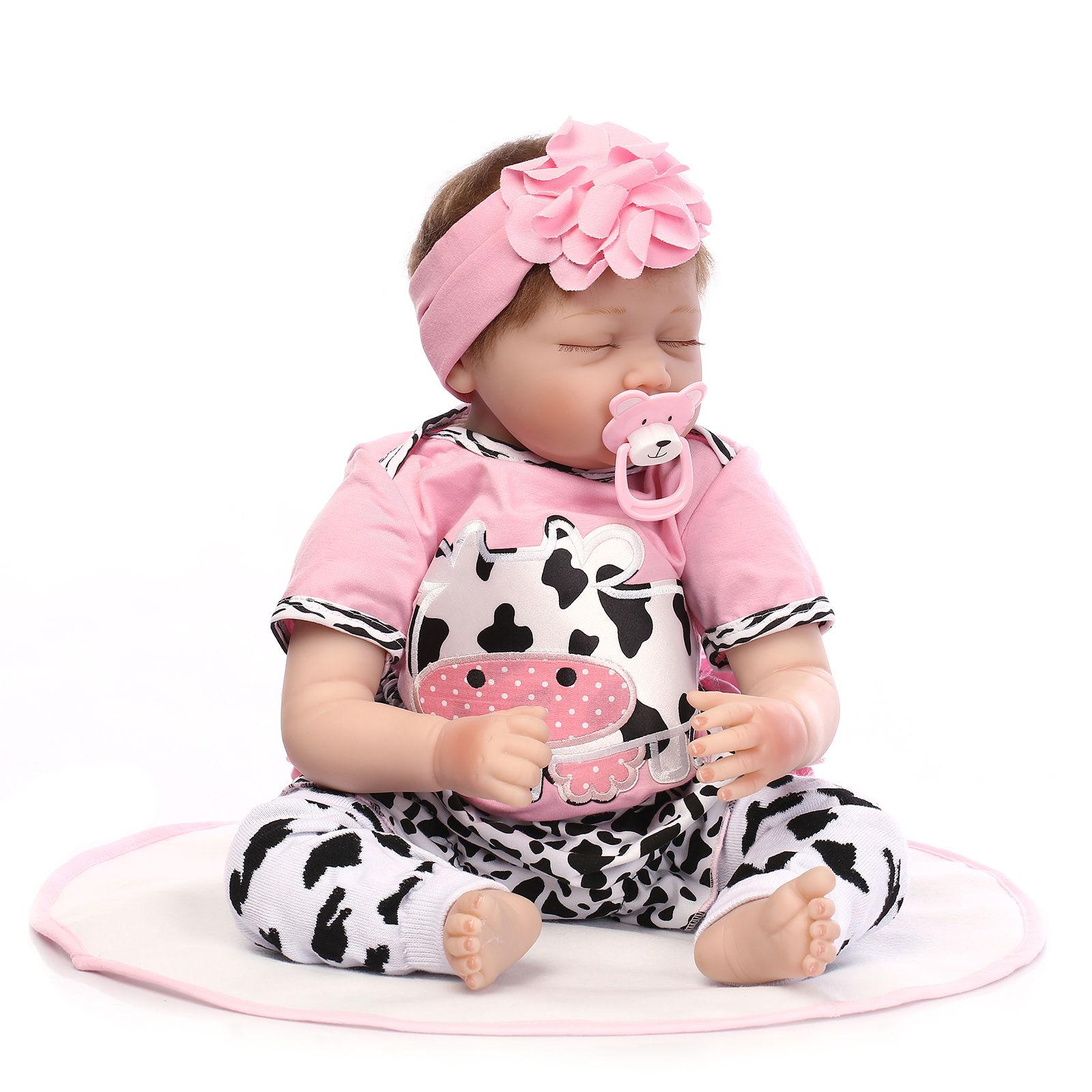 "22/"" lifelike reborn baby doll silicone vinyl real gentle touch newborn doll Girl"