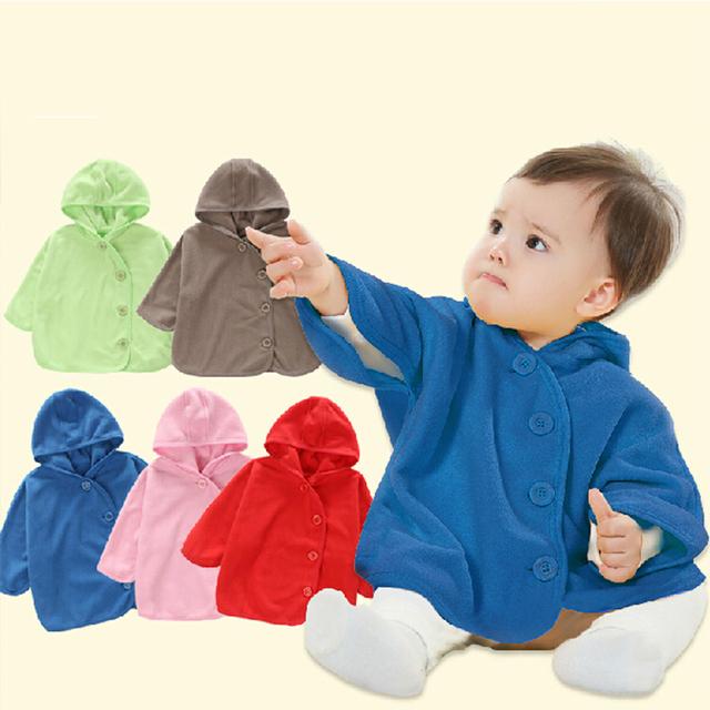 Top Qualidade Casacos Meninos Smocks Combi Bebê Outwear Menina de Inverno do Velo Hoodies Roupas Blusão Poncho Cabo Manto das Crianças