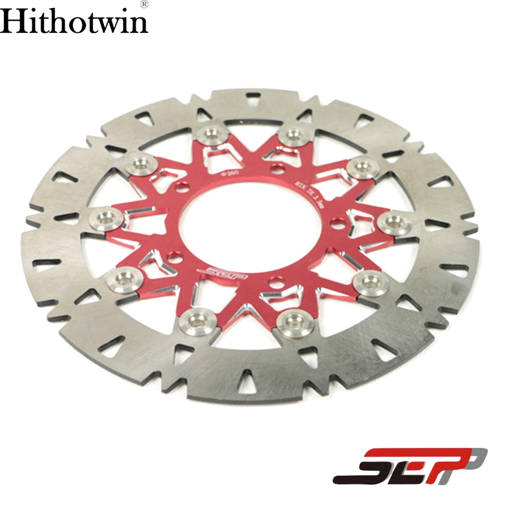 SEP Motorcycle Scooter Front Wheel Fork Stainless Steel 260mm Disc Brake Center-Lock Rotor Red For Yamaha BWS X 125 Cygnus 125 keoghs mosda motorcycle brake disc brake rotor floating 260mmdiameter for yamaha scooter bws cygnus front disc replace modify