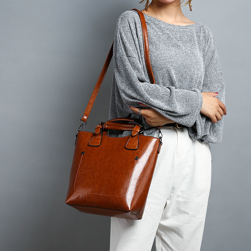 f8dd22f088f Hot Sale Women Casual Handbags High Quality Oil Wax Leather Female Shoulder  Bag Designer Ladies Vintage Crossbody Bags Big Tote-in Shoulder Bags from  ...