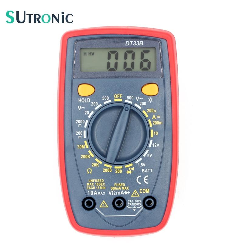 DT33B Digital Multimeter Backlight Buzzer Protection AC DC Ammeter Voltmeter Ohm Portable Pocket Meter Data Hold Battery Test