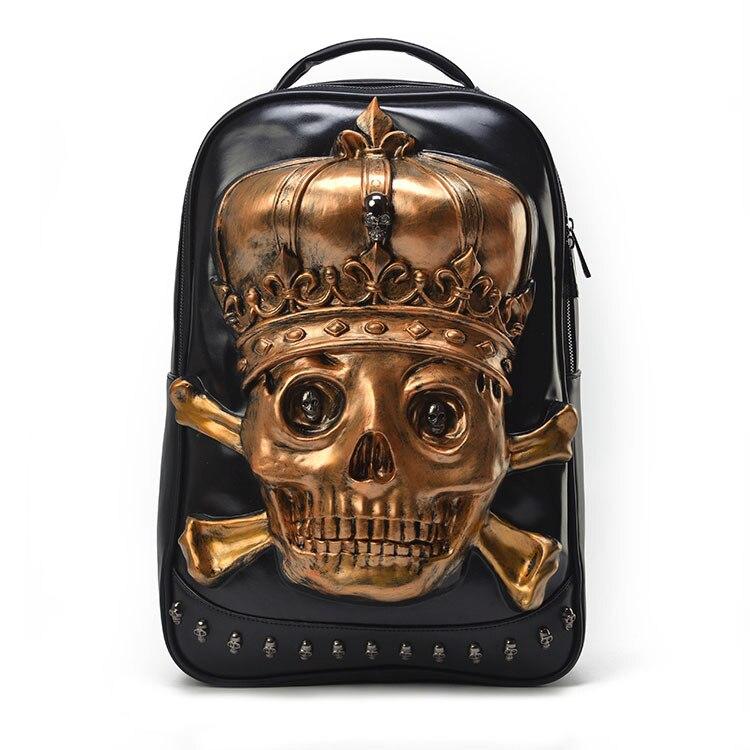 ФОТО Fashion 3D skull head printed men backpack designer black rivet men's bags large capacity PU leather bags zipper school backpack