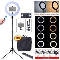 80 Вт 18 48 см 2700 К ~ 5500 К светодиодный затемнения Кольца Diva свет + Камера Телефон Штатив подставка для iPad iPhone студийная съемка видео фото