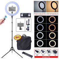 80W 18 48cm 2700K~5500K LED Dimmable Diva Ring Light + Camera Phone Tripod Stand for iPad iPhone Studio Photography Video Photo