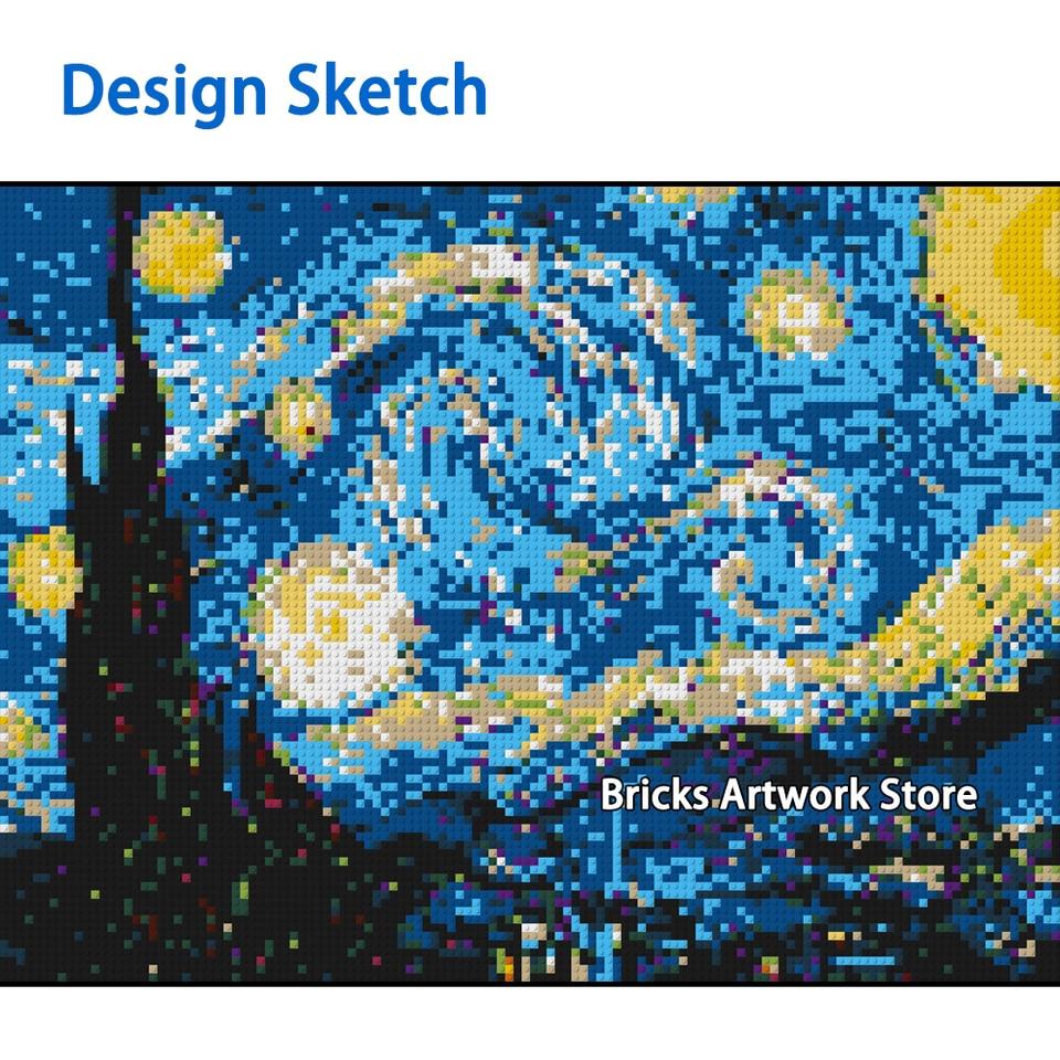 Creative Pixel Art Mosaic Painting Post Impressionism Van Gogh Moc Set Diy Model Building Blocks Toys Compatible Creative Gifts