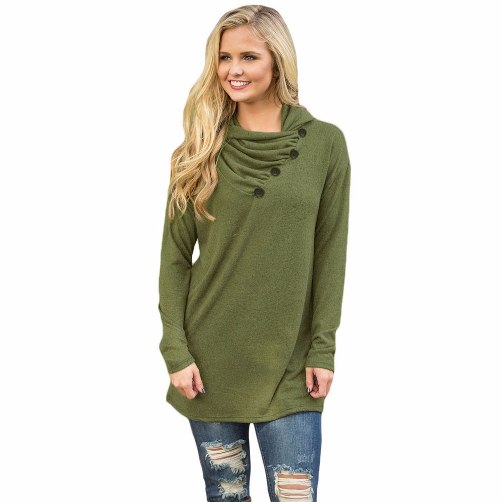 Army-Green-Buttoned-Cowl-Neck-Long-Top-LC25977-9-1