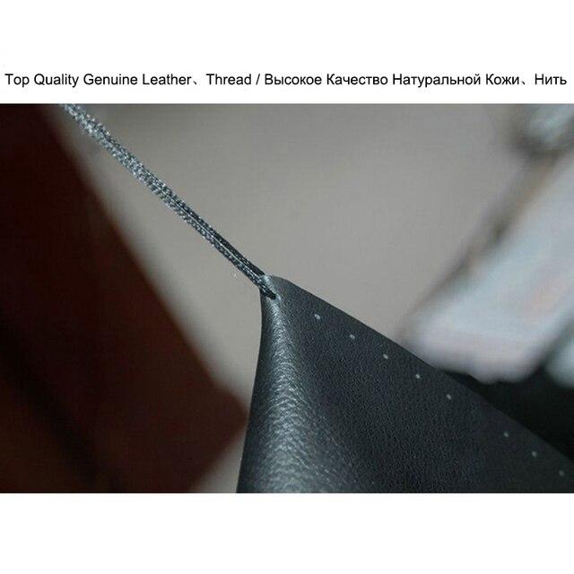 Universal protector para volante de coche de cuero genuino puntada en cuero costura negra con aguja, hilo coche-estilo