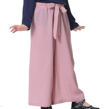 Hot Selling Girls Solid Color Trousers Loose Wide Leg Pants for Summer