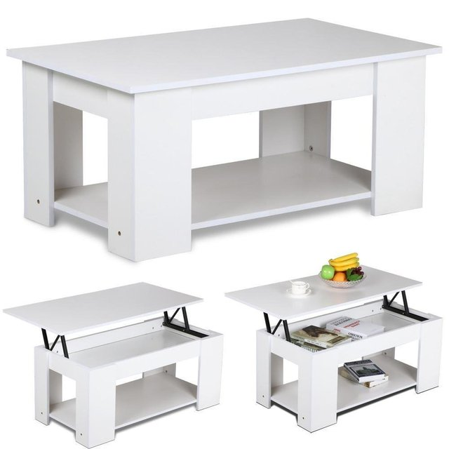 Lift Up Top Coffee Table Hidden Storage Compartment Living Room Tea