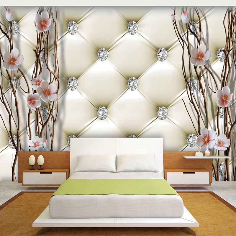 Custom Wall Mural 3D Stereo Soft Package Diamond Plum Branches Art Wall Painting Living Room TV Backdrop Wall Cloth Home Decor
