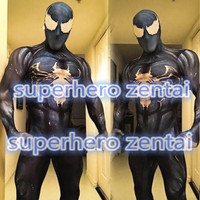 Venom Symbiote Spiderman Costume 3D Printed Spider Man Cosplay Zentai body suit black Spidey for Adults/Kids Customized