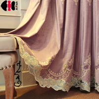 Decorations for curtains Cloth Room Decor luxury Curtain Transparent Tulle and curtains purple striped Night curtains WP247C