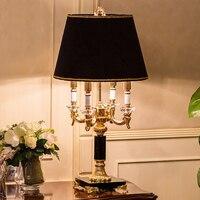 Европейская Хрустальная спальня настольная лампа белая ткань абажур гостиная украшение Abajur настольная лампа для спальни Lamparas De Mesa