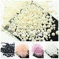 Vendas! 1000 Pcs 50 Gram Mista 2-10mm Artesanato ABS Pérolas de Imitação Metade Redondas Pérolas Flatback Resina Scrapbook Beads Para Decoração DIY