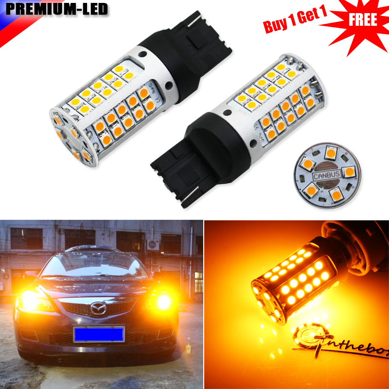 No Hyper Flash 21W Amber 7440 W21W T20 LED Replacement Bulbs For Car Front or Rear Turn Signal Lights(No Load Resistor Required)