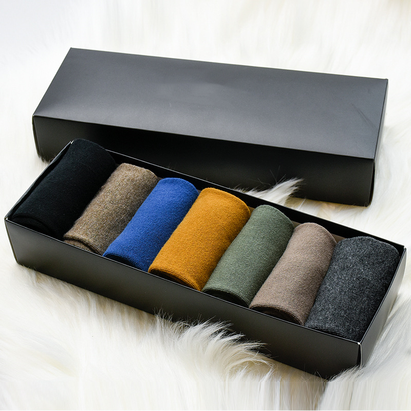 Man Socks7 Pairs 2019 Spring New Gift Box Men Long Socks Long Men's Fashion Casual Breathable Cotton Solid Color  Socks Funny