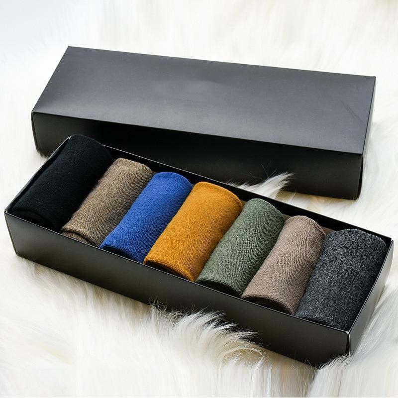Man Socks7 Pairs 2019 Spring New Gift Box Men Long Socks Long Men's Fashion Casual Breathable Cotton Solid Color  Socks Funny