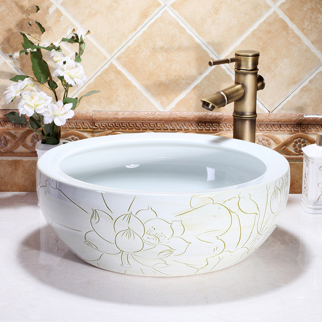 Home Hotel Decor Artistic Wash Basin Ceramic Round Coutertop Bathroom Sink Bowl Above Counter