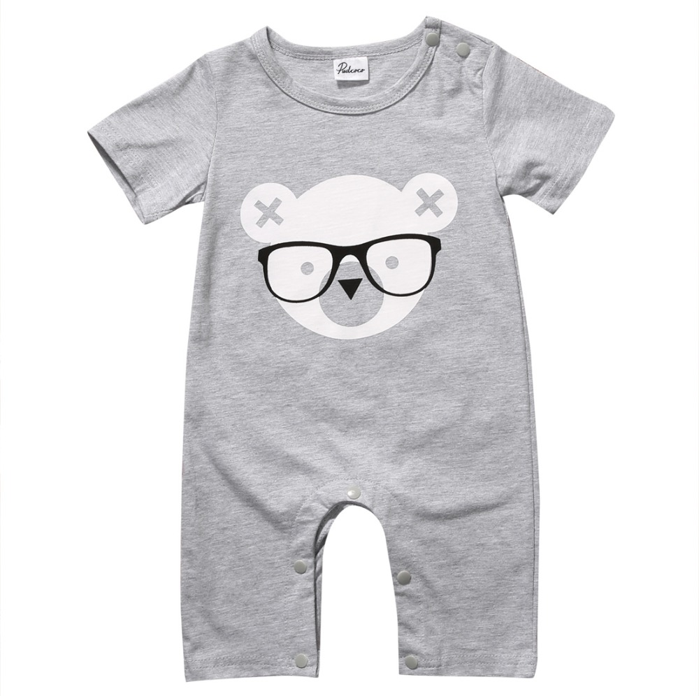 Cute Cartoon Newborn Baby Boy Girl Short Sleeve Gray Bear   Romper   Jumpsuit Summer Baby Boys Outfits Clothes