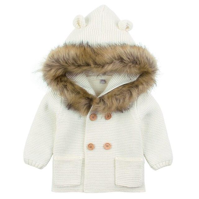 Baby Boys Girls Knit Cardigan Winter Warm Newborn Infant Sweaters Fashion Long Sleeve Hooded Coat Jacket Kids Clothing Outfits 1