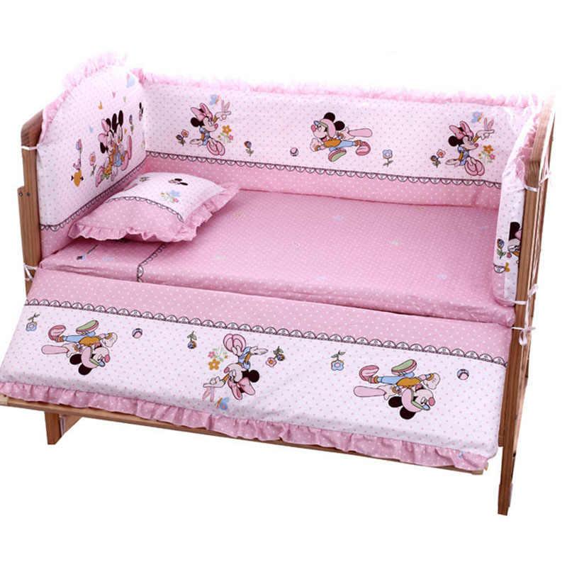 5 шт./компл. мультфильм анимированные детская кроватка кровать бампер для новорожденных 100% хлопковое комфортное нижнее белье, Детское покрывало для кровати детские моющиеся Постельное белье