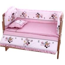 цена 5Pcs/Set Cartoon Animated Crib Bed Bumper For Newborns 100%Cotton Comfortable Children's Bed Protector Baby Washable Bedding Set онлайн в 2017 году
