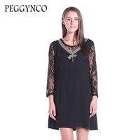 PEGGYNCO 2017 Women Elegant O Neck Summer Dress Plus Size Wrist Sleeve Summer Long Causal Dress