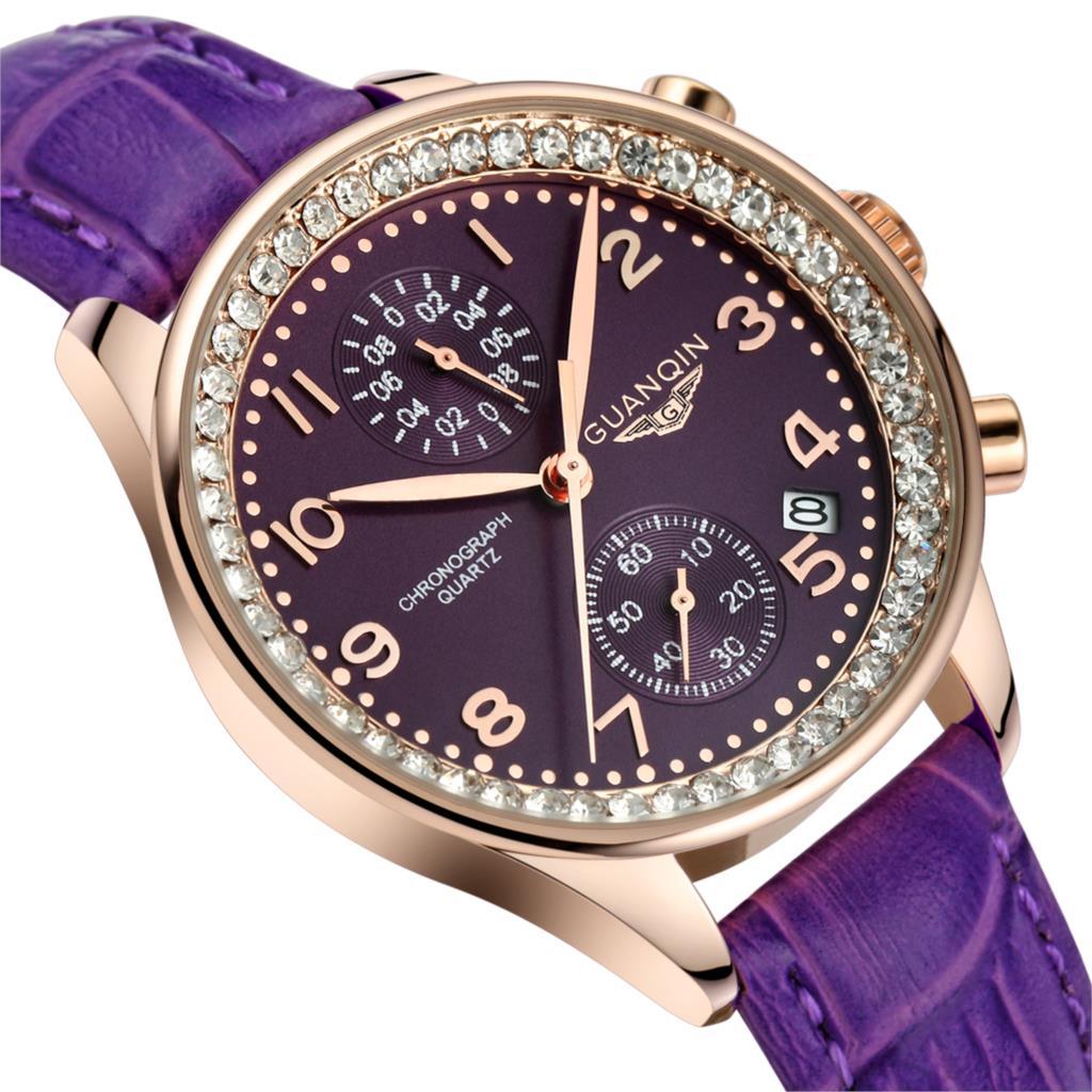 27f36be6eeea Marca GUANQIN relojes de cuarzo mujeres del reloj de cuarzo de las ...