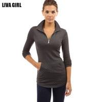 High Quality Skinny Women T Shirt Solid Long Sleeve V Neck Zipper Tops Casual Slim Fit