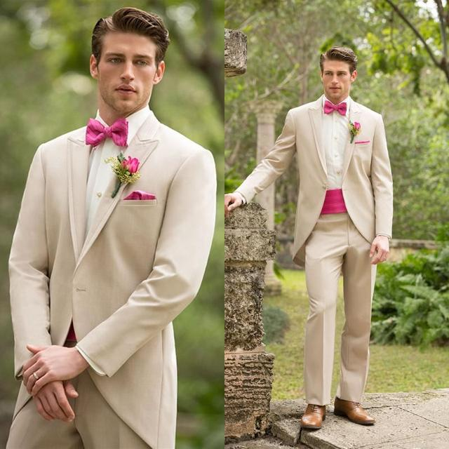 High Quality Beige Groom Tuxedos Groomsmen Mens Wedding Suits Prom ...